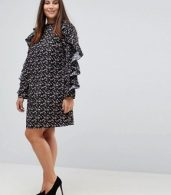 photo Floral Shift Dress with Ruched Sleeve by Rage Plus, color Print - Image 4