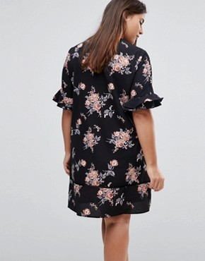 photo Short Sleeve Floral Shift Dress by Rage Plus, color Print - Image 2
