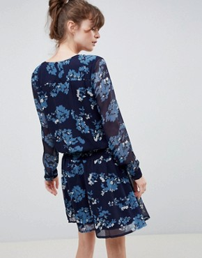 photo Floral Waisted Dress by Ichi, color Total Eclipse - Image 2