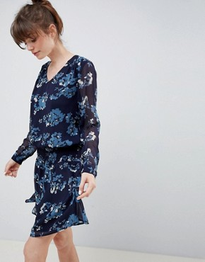 photo Floral Waisted Dress by Ichi, color Total Eclipse - Image 1