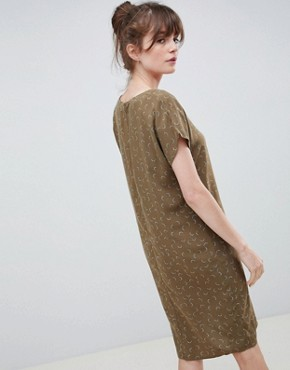 photo Mini Moon Print V-Neck Shift Dress by Ichi, color Military Olive - Image 2