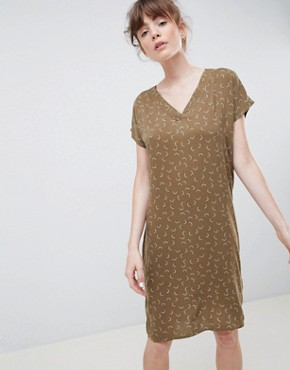 photo Mini Moon Print V-Neck Shift Dress by Ichi, color Military Olive - Image 1
