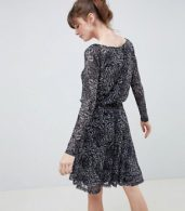 photo Printed Skater Dress with Sheer Sleeves by Ichi, color Phantom - Image 2