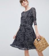 photo Printed Skater Dress with Sheer Sleeves by Ichi, color Phantom - Image 1