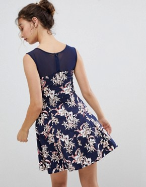 photo Floral Skater Dress with Mesh Detail by QED London, color Navy - Image 2