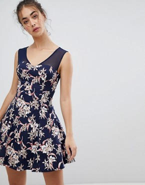 photo Floral Skater Dress with Mesh Detail by QED London, color Navy - Image 1