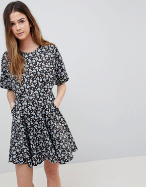 photo Floral Skater Dress with Cutout Detail by QED London, color Black And Blue - Image 1