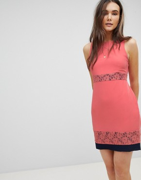 photo Skater Dress with Lace Inserts by QED London, color Coral With Navy - Image 1