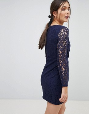 photo Lace Wrap Front Dress by QED London, color Navy - Image 2