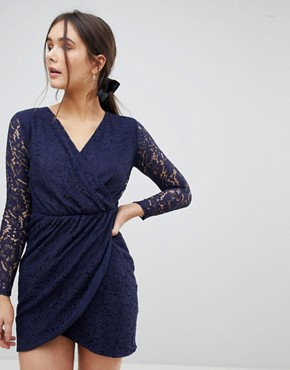 photo Lace Wrap Front Dress by QED London, color Navy - Image 1