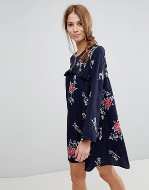 photo Floral Shift Dress with Frill by QED London, color Navy - Image 1