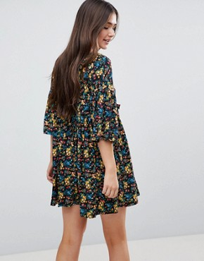 photo Floral Smock Dress with Frill by QED London, color Black - Image 2