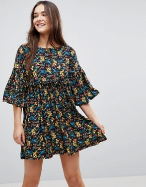 photo Floral Smock Dress with Frill by QED London, color Black - Image 1