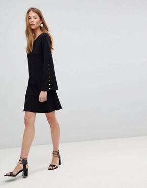 photo Popper Sleeve Swing Dress by QED London, color Black - Image 4
