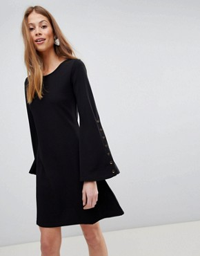 photo Popper Sleeve Swing Dress by QED London, color Black - Image 1