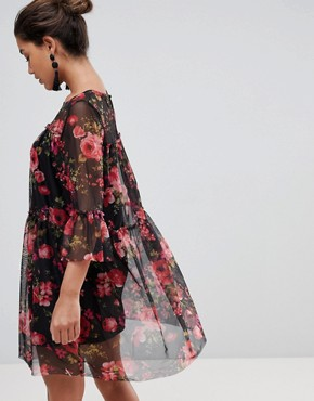 photo Floral Printed Mesh Dress by QED London, color Black/Red - Image 2