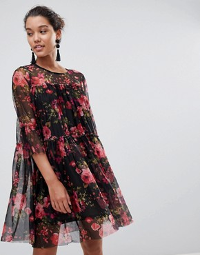photo Floral Printed Mesh Dress by QED London, color Black/Red - Image 1