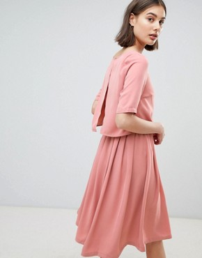 photo 2-In-1 Skater Dress by Ichi, color Rose Dawn - Image 2