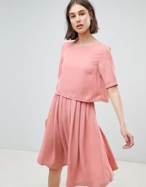 photo 2-In-1 Skater Dress by Ichi, color Rose Dawn - Image 1