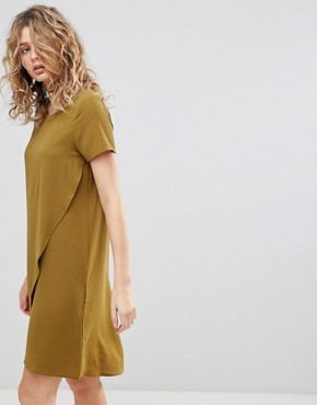 photo Wrap Front Shift Dress by Ichi, color Plantation - Image 1