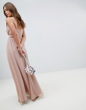 photo Side Cut Out Maxi Dress with Cami Straps by ASOS, color Nude - Image 2