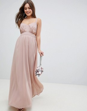 photo Side Cut Out Maxi Dress with Cami Straps by ASOS, color Nude - Image 1