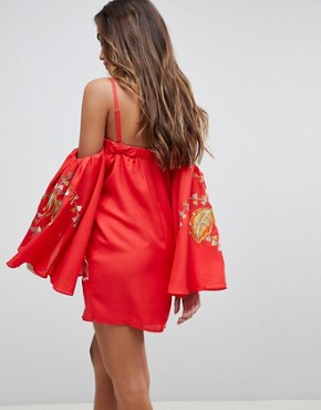 photo Bardot Mini Dress with Embroidery by ASOS, color Red - Image 2