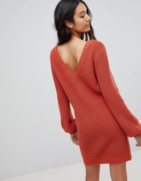 photo Chunky Mini Knitted Dress with V-Back by ASOS TALL, color Rust - Image 2