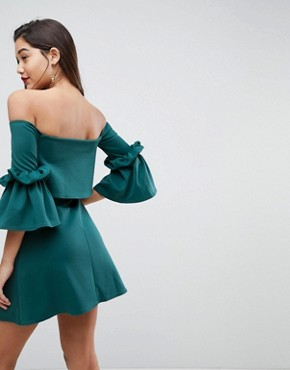 photo Scuba Crop Top Bardot Fluted Sleeve Mini Dress by ASOS, color Forest Green - Image 2