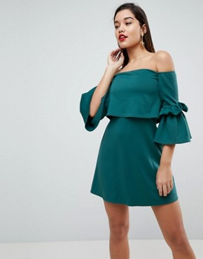photo Scuba Crop Top Bardot Fluted Sleeve Mini Dress by ASOS, color Forest Green - Image 1