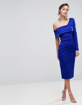 photo One Sleeve Fold Front Midi Bodycon Dress by ASOS, color Cobalt Blue - Image 1