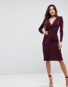 photo Slinky Deep Plunge Shoulder Pad Midi Bodycon Dress by ASOS, color Plum - Image 1