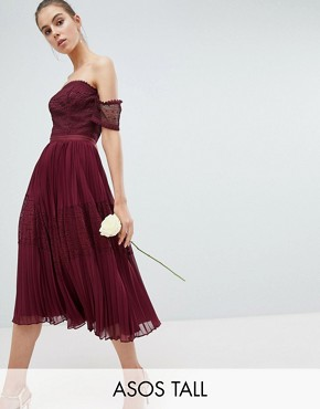 photo Bridesmaid Premium Guipure Lace Panelled Midi Dress by ASOS DESIGN Tall, color Wine - Image 1