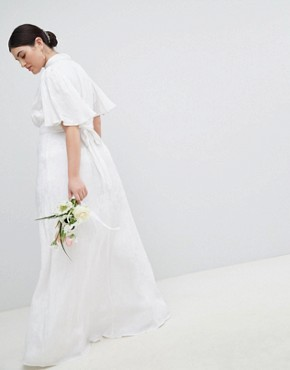 photo Wedding Dress in Soft Jacquard with Flutter Sleeve by ASOS EDITION Curve, color White - Image 2