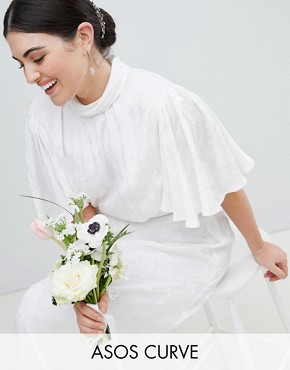 photo Wedding Dress in Soft Jacquard with Flutter Sleeve by ASOS EDITION Curve, color White - Image 1