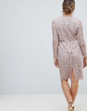photo Lace Long Sleeve Midi Pencil Dress by ASOS Maternity, color Mink - Image 2