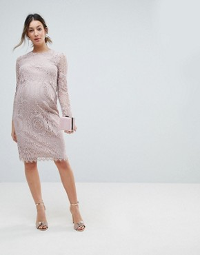 photo Lace Long Sleeve Midi Pencil Dress by ASOS Maternity, color Mink - Image 1