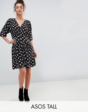 photo Casual Mini Tea Dress in Washed Spot by ASOS TALL, color Spot - Image 1
