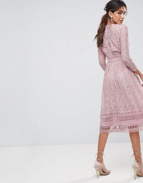 photo Lace Midi Skater Dress by ASOS PREMIUM, color Mink - Image 2