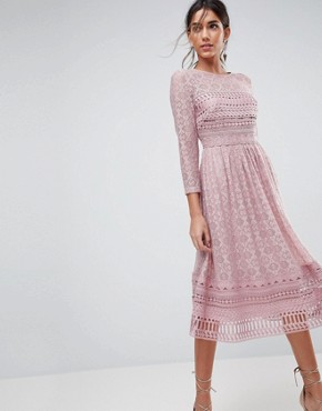 photo Lace Midi Skater Dress by ASOS PREMIUM, color Mink - Image 1
