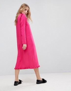 photo Midi Dress with Ruffle Hem by ASOS, color Pink - Image 2