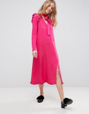 photo Midi Dress with Ruffle Hem by ASOS, color Pink - Image 1
