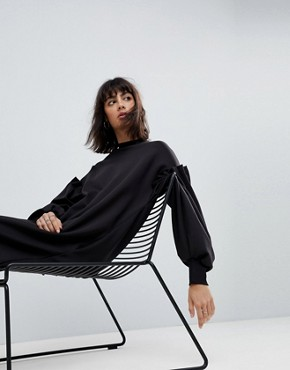 photo 3D Pleat Ovoid Midi Sweat Dress by ASOS WHITE, color Black - Image 1