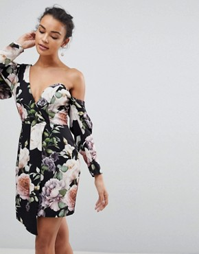 photo Cocktail Mini Dress in Dark Floral Print by ASOS, color Multi - Image 1
