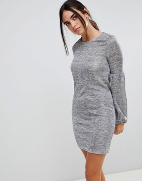 photo Volume Sleeve Dress by Parisian, color Grey - Image 1