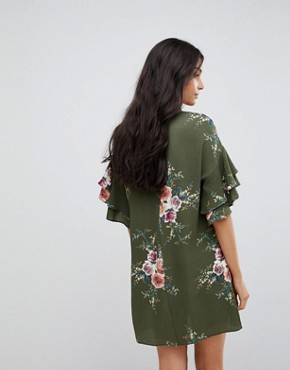 photo Floral Shift Dress with Flare Sleeve by Parisian, color Khaki - Image 2
