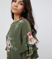 photo Floral Shift Dress with Flare Sleeve by Parisian, color Khaki - Image 3