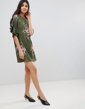 photo Floral Shift Dress with Flare Sleeve by Parisian, color Khaki - Image 4