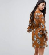 photo Floral Print Dress with Tie Waist Belt and Ruffle Sleeves by Parisian Petite, color Mustard - Image 2