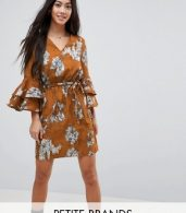 photo Floral Print Dress with Tie Waist Belt and Ruffle Sleeves by Parisian Petite, color Mustard - Image 1
